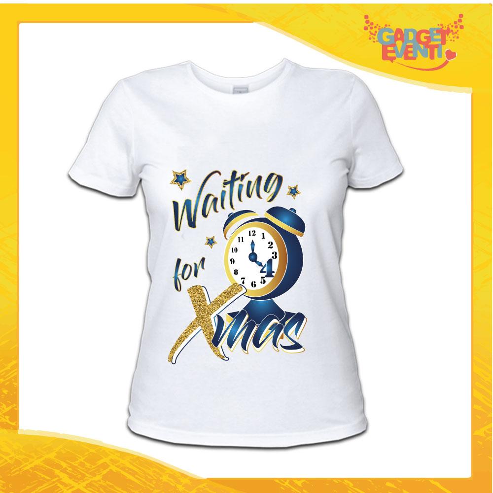 """T-Shirt Donna Natalizia Bianca """"Waiting For Xmas"""" grafica Blu Maglietta per l'inverno Maglia Natalizia Idea Regalo Gadget Eventi"""