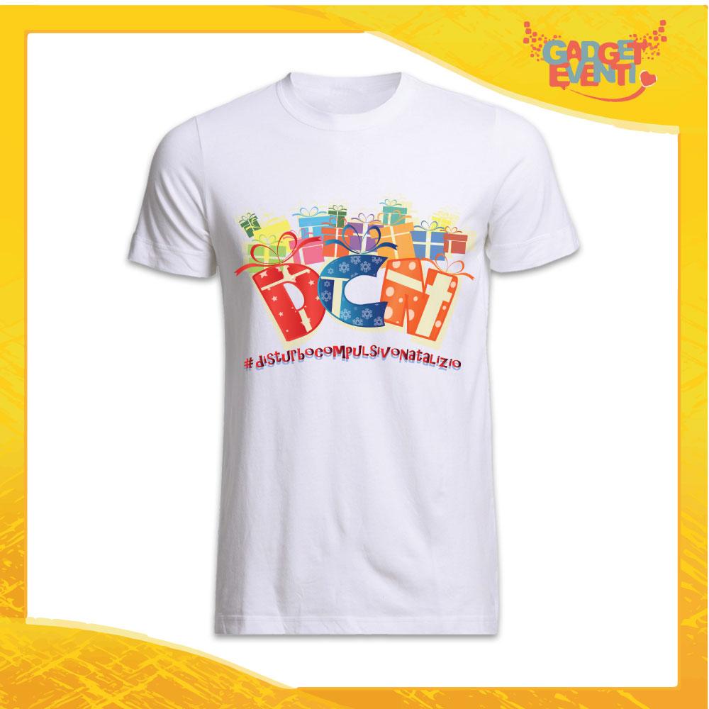 """T-Shirt Uomo Natalizia Bianca """"Disturbo Compulsivo Regali"""" grafica Multicolore Maglietta per l'inverno Maglia Natalizia Idea Regalo Gadget Eventi"""