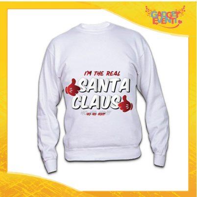 """Felpa Bianca Unisex Natalizia """"Real Santa Claus"""" Maglione Girocollo Uomo Donna Grafica Argento Idea Regalo Gadget Eventi"""