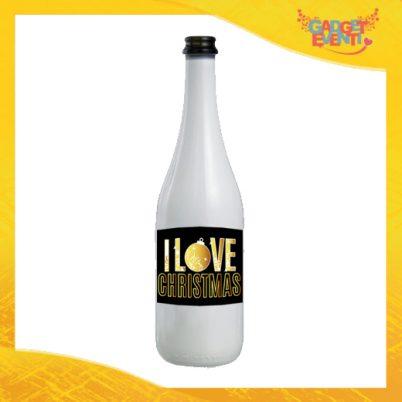 """Bottiglia da Vino Natalizia 75 ml Personalizzata """"I Love Christmas"""" grafica Oro Idea Regalo per Festa di Natale Gadget Eventi"""