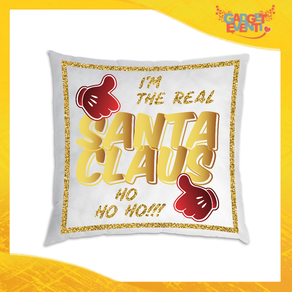 """Cuscino Natalizio Personalizzato Grafica Oro """"Real Santa Claus""""Arredamento poltrone Divani e Letto Idea Regalo Cuscini Natalizi Gadget Eventi"""