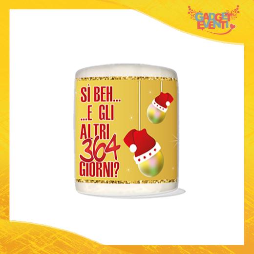 """Salvadanaio Portamonete in ceramica Natalizio personalizzato """"Gli altri 364 Giorni?"""". Porta risparmi monetine e monete Grafica Oro Idea Regalo Gadget Eventi"""
