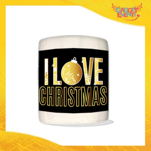 """Salvadanaio Portamonete in ceramica Natalizio personalizzato """"I Love Christmas"""". Porta risparmi monetine e monete Grafica Oro Idea Regalo Gadget Eventi"""