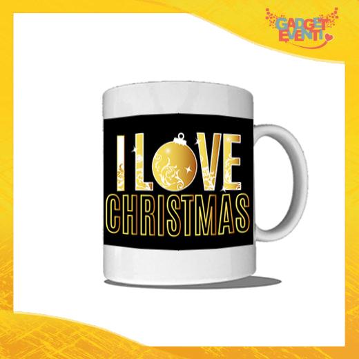 """Tazza Natalizia Personalizzata """"I Love Christmas"""" grafica Oro Mug Colazione Breakfast Idea Regalo Festività Natalizie Gadget Eventi"""
