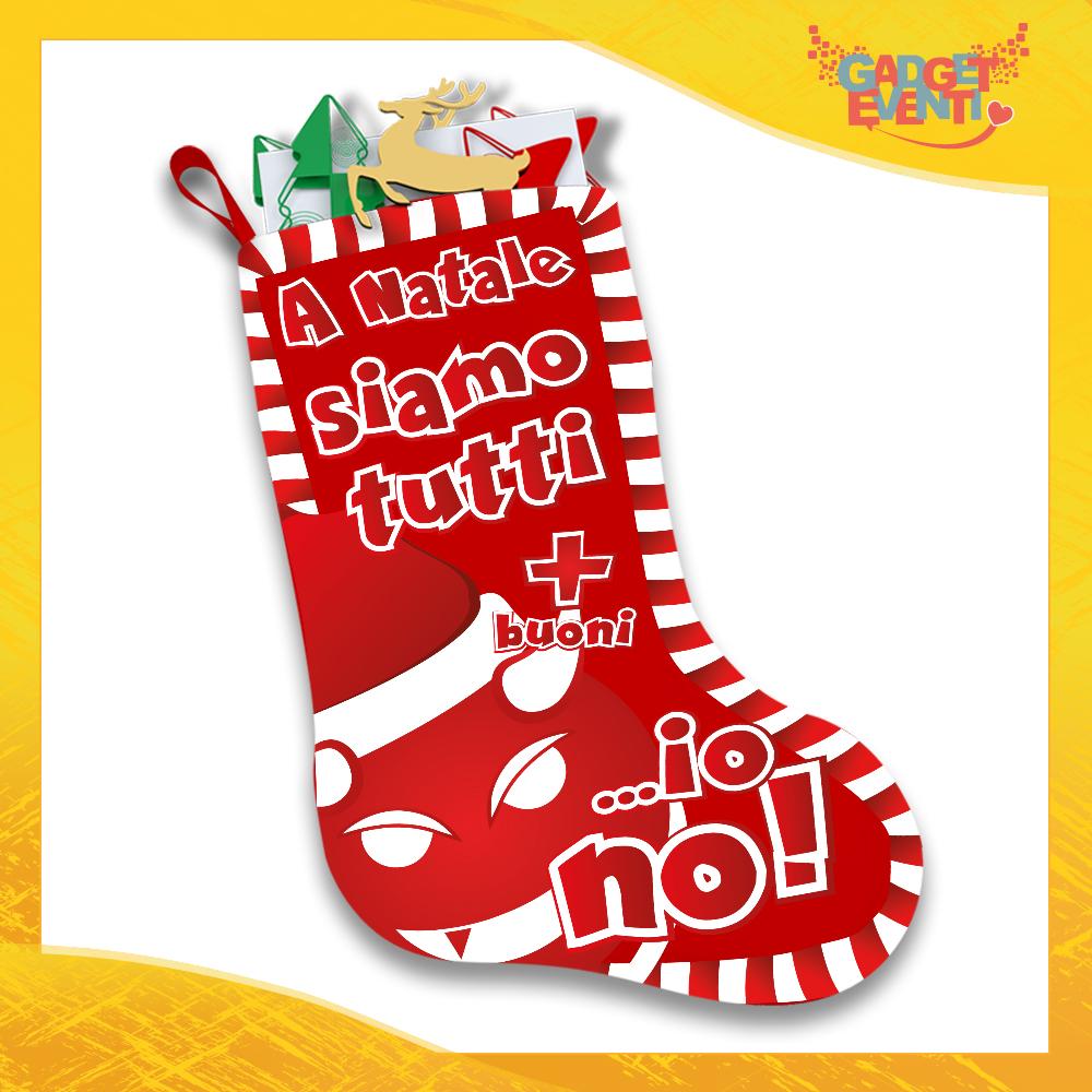 """Calza Natalizia Addobbo Personalizzata """"A Natale Siamo Tutti Più Buoni"""" grafica Rossa Gadget Eventi"""