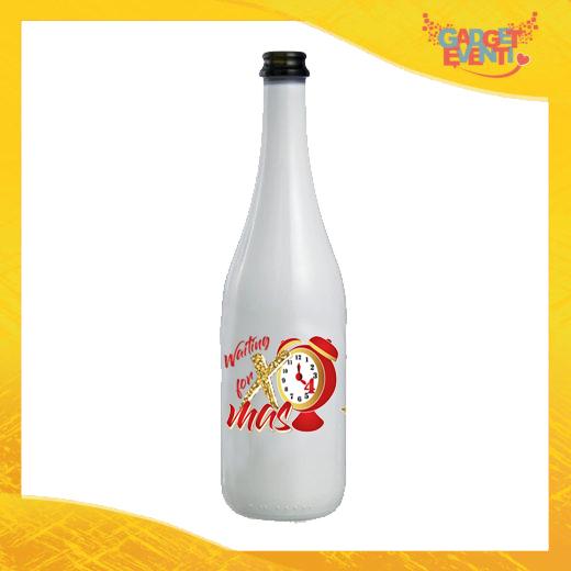 """Bottiglia da Vino Natalizia 75 ml Personalizzata """"Waiting For Xmas"""" grafica Rossa Idea Regalo per Festa di Natale Gadget Eventi"""
