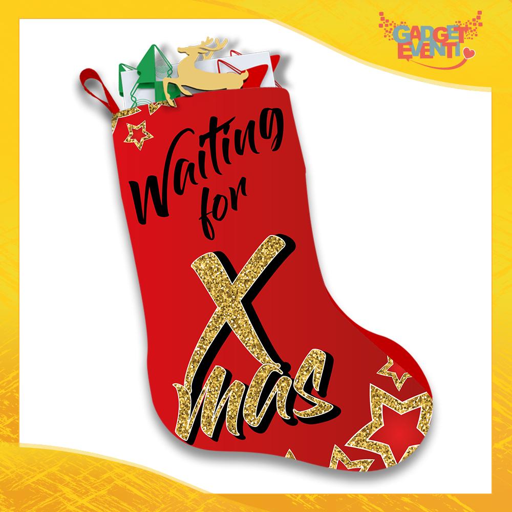 """Calza Natalizia Addobbo Personalizzata """"Waiting For Xmas"""" grafica Rossa Gadget Eventi"""