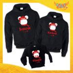 """Tris di Felpe Nere Grafica Rossa """"Topolino Natale Con Nomi"""" Maglie per Tutta la Famiglia Completo di Maglie Papà Mamma Figlio Figlia Idea Regalo Gadget Eventi"""