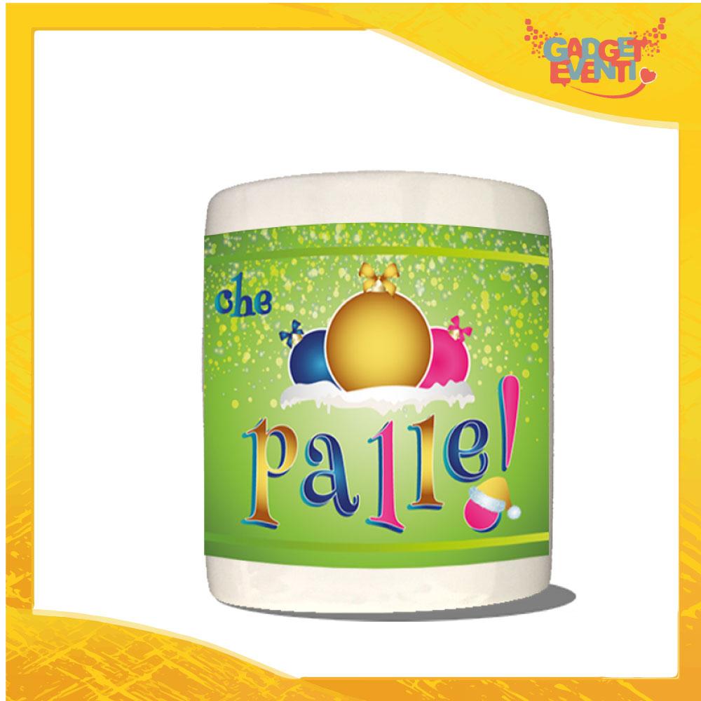 """Salvadanaio Portamonete in ceramica Natalizio personalizzato """"Che Palle"""". Porta risparmi monetine e monete Grafica Multicolore Idea Regalo Gadget Eventi"""