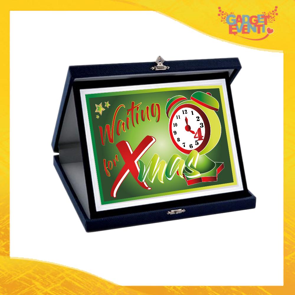 """Targa Natalizia Personalizzata Grafica Verde """"Waiting For Xmas"""". Cofanetto Decorativo Idea Regalo Festa di Natale Gadget Eventi"""