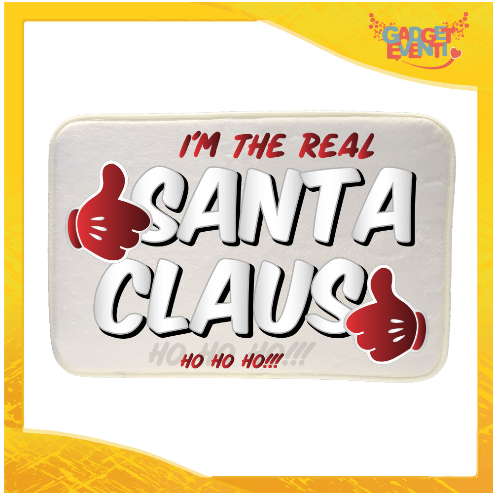 """Mouse Pad Rettangolare Natalizio Grafica Argento """"Real Santa Claus"""" tappetino pc ufficio idea regalo festa di Natale gadget eventi"""