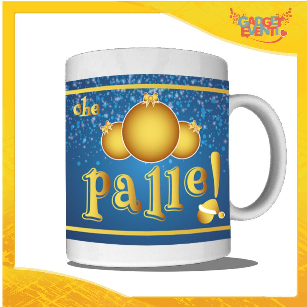 """Tazza Natalizia Personalizzata """"Che Palle"""" grafica Blu Mug Colazione Breakfast Idea Regalo Festività Natalizie Gadget Eventi"""