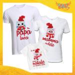 """Tris di T-Shirt Bianche Grafica Rossa """"Famiglia dei Gufi Con Nomi"""" Magliette per Tutta la Famiglia Completo di Maglie Papà Mamma Figlio Figlia Idea Regalo Gadget Eventi"""
