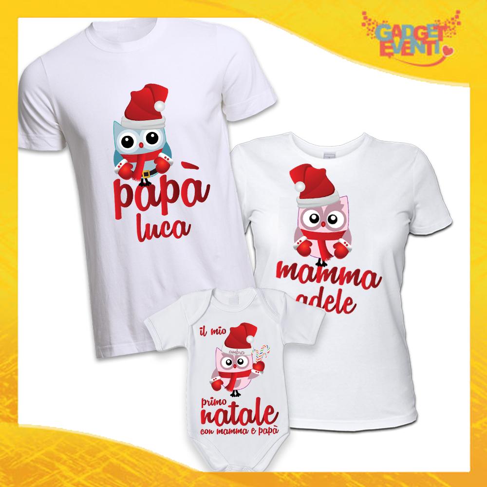 """Coppia di T-Shirt Con Body Bianco Grafica Rossa """"Famiglia dei Gufi Con Nomi"""" Magliette per Tutta la Famiglia Completo di Maglie Papà Mamma Figlio Figlia Idea Regalo Gadget Eventi"""