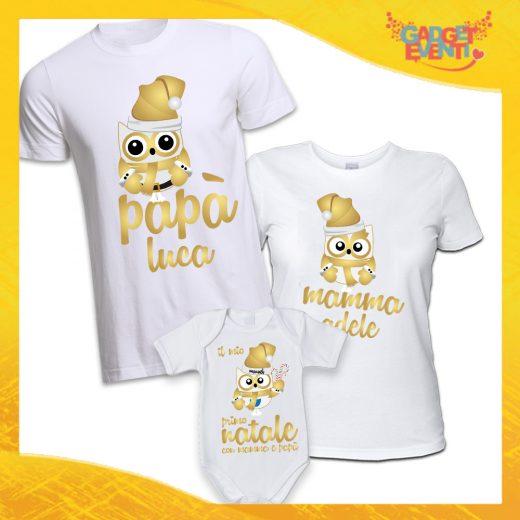 """Coppia di T-Shirt Con Body Bianco Grafica Oro """"Famiglia dei Gufi Con Nomi"""" Magliette per Tutta la Famiglia Completo di Maglie Papà Mamma Figlio Figlia Idea Regalo Gadget Eventi"""
