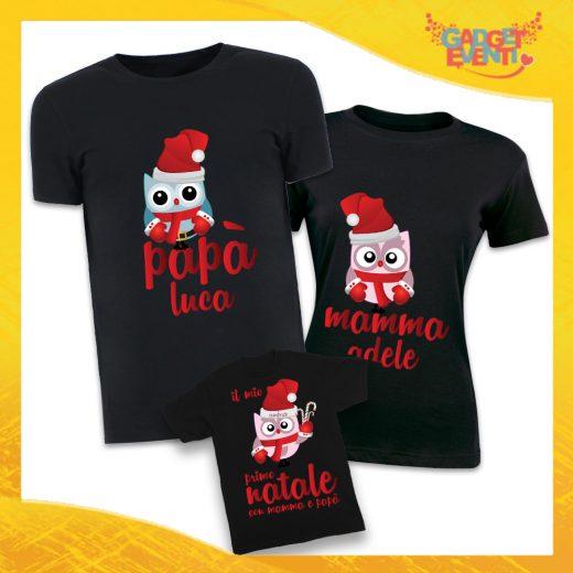 """Tris di T-Shirt Nere Grafica Rossa """"Famiglia dei Gufi Con Nomi"""" Magliette per Tutta la Famiglia Completo di Maglie Papà Mamma Figlio Figlia Idea Regalo Gadget Eventi"""