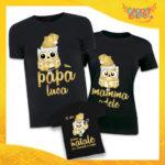 """Tris di T-Shirt Nere Grafica Oro """"Famiglia dei Gufi Con Nomi"""" Magliette per Tutta la Famiglia Completo di Maglie Papà Mamma Figlio Figlia Idea Regalo Gadget Eventi"""
