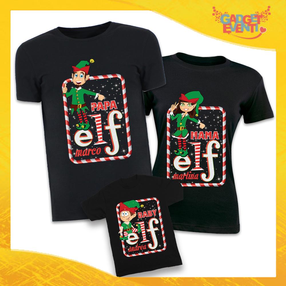 """Tris di T-Shirt Nere """"Elf Family Con Nomi"""" Magliette per Tutta la Famiglia Completo di Maglie Papà Mamma Figlio Figlia Idea Regalo Gadget Eventi"""