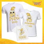 """Tris di T-Shirt Bianche Grafica Oro """"Famiglia dei Gufi Con Nomi"""" Magliette per Tutta la Famiglia Completo di Maglie Papà Mamma Figlio Figlia Idea Regalo Gadget Eventi"""