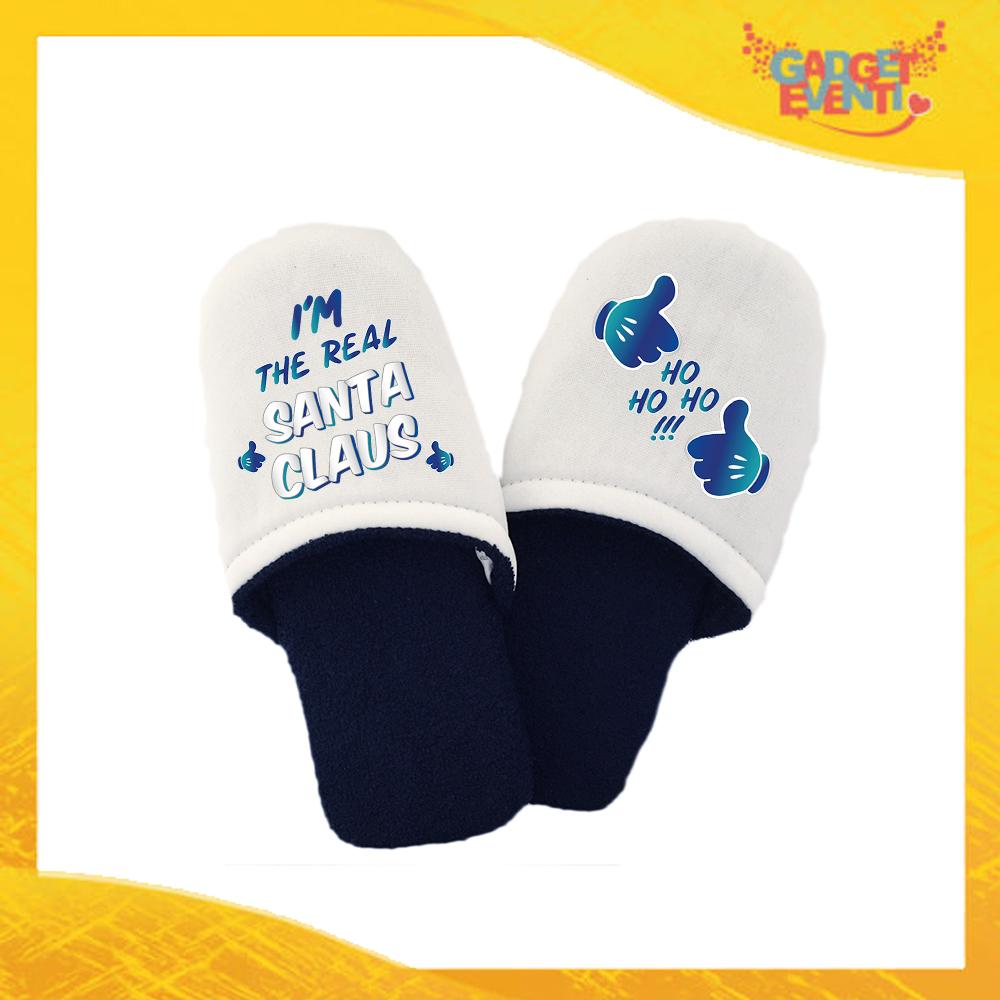 """Pantofole Uomo Natalizie Personalizzate """"Real Santa Claus"""" Grafica Blu Idea Regalo Gadget Eventi"""