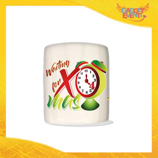 """Salvadanaio Portamonete in ceramica Natalizio personalizzato """"Waiting For Xmas"""". Porta risparmi monetine e monete Grafica Verde Idea Regalo Gadget Eventi"""