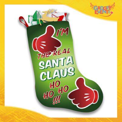 """Calza Natalizia Addobbo Personalizzata """"Real Santa Claus"""" grafica Verde Gadget Eventi"""