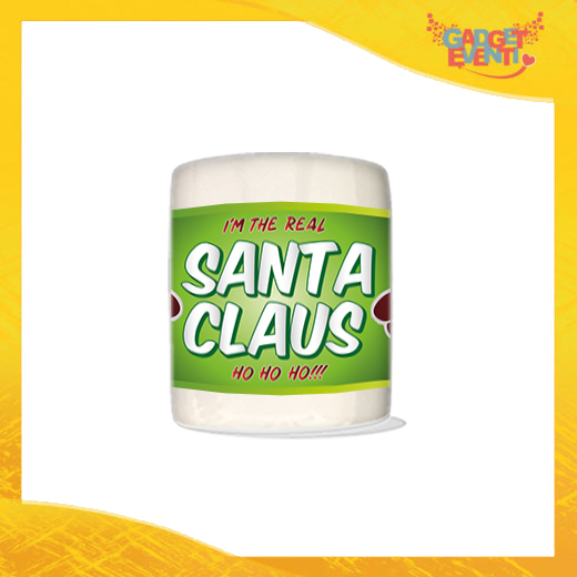 """Salvadanaio Portamonete in ceramica Natalizio personalizzato grafica Verde """"Real Santa Claus"""". Porta risparmi monetine e monete Idea Regalo Gadget Eventi"""