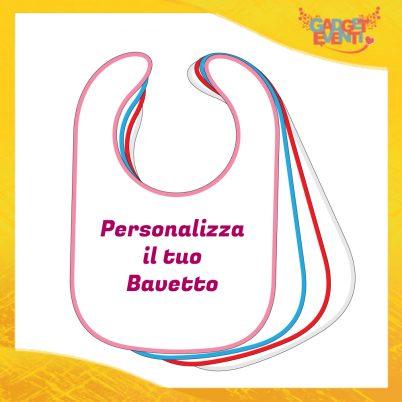 Bavetto Bavaglino Bimbo bianco con bordo colorato Personalizzato con Testi Frasi Foto e Immagini Idea Regalo Esclusiva Gadget Eventi