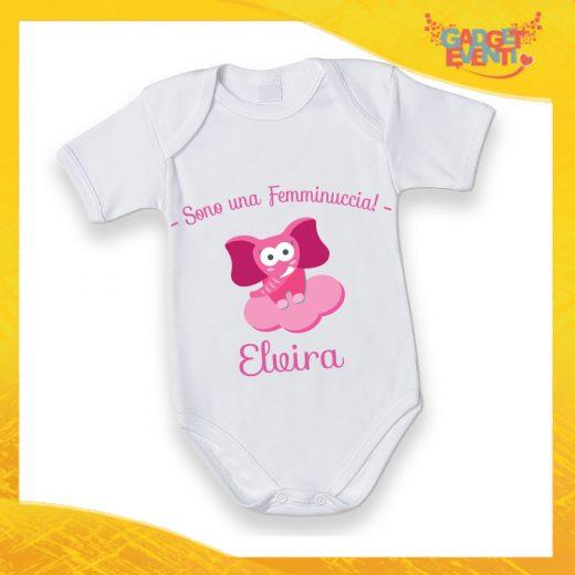 """Body Neonato Femminuccia Bodino Bimbo/a Personalizzato """"Elefantino Con Nome"""" Gadget Eventi"""