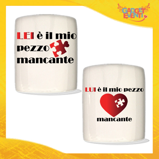 """Coppia di Salvadanai Personalizzati Love """"Pezzo Mancante"""". Portamonete Cilindrici Per Innamorati Idea regalo Gadget Eventi"""