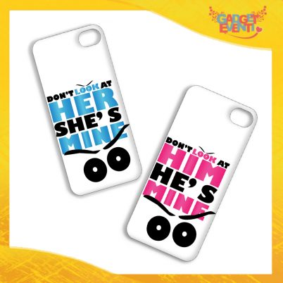 "Coppia Cover Smartphone Cellulare Tablet ""Don't Look Her Him"" San Valentino Gadget Eventi"