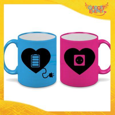 """Coppia di Tazze Flui Love Personalizzate """"Amore Ricarica"""" Mug Colazione Breakfast Idea Regalo Per Innamorati Gadget Eventi"""" Mug Colazione Breakfast Idea Regalo Per Innamorati Gadget Eventi"""