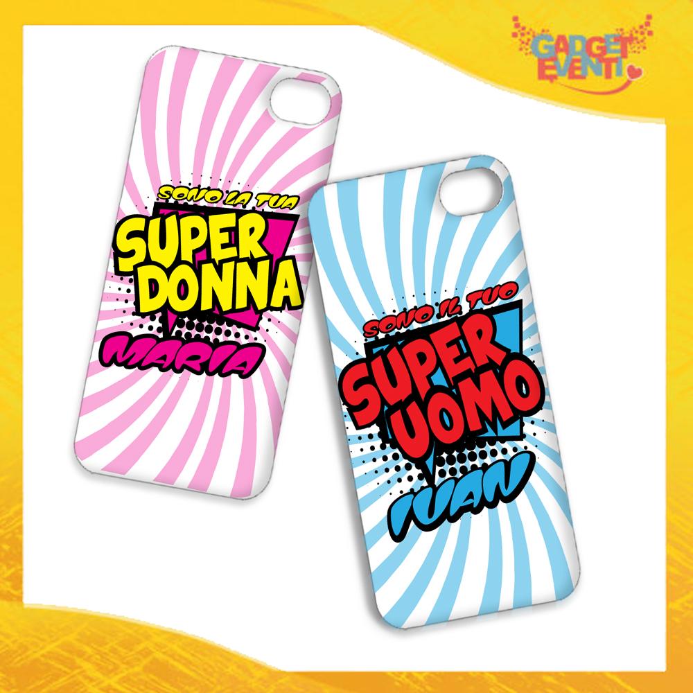 """Coppia Cover Smartphone Cellulare Tablet """"Super Uomo Donna con Nome"""" San Valentino Gadget Eventi"""