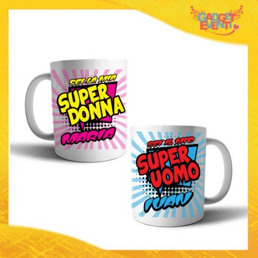 """Coppia di Tazze Love Personalizzate """"Super Uomo Donna con Nome"""" Mug Colazione Breakfast Idea Regalo Per Innamorati Gadget Eventi"""" Mug Colazione Breakfast Idea Regalo Per Innamorati Gadget Eventi"""