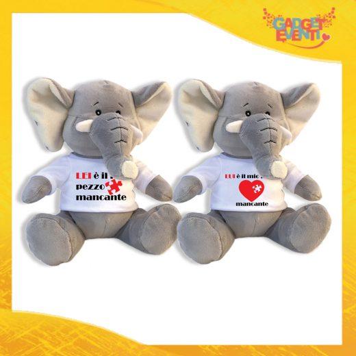 """Coppia di Peluche Love Pupazzi a forma di Elefante """"Pezzo Mancante"""" Pupazzetti di San Valentino Idea Regalo per Innamorati Gadget Eventi"""