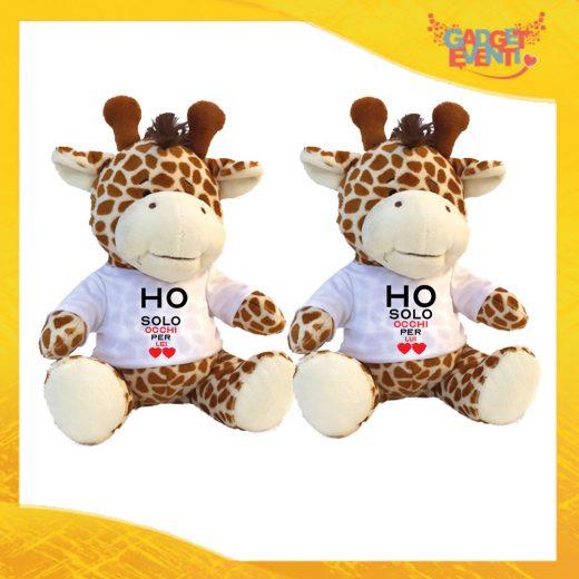 """Coppia di Peluche Love Pupazzi a forma di Giraffa """"Ho Occhi Solo Per Lei Lui"""" Pupazzetti di San Valentino Idea Regalo per Innamorati Gadget Eventi"""