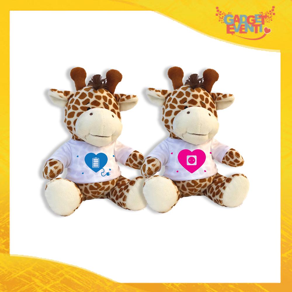 """Coppia di Peluche Love Pupazzi a forma di Giraffa """"Amore Ricarica"""" Pupazzetti di San Valentino Idea Regalo per Innamorati Gadget Eventi"""
