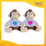 """Coppia di Peluche Love Pupazzi a forma di Scimmia """"Amore Ricarica"""" Pupazzetti di San Valentino Idea Regalo per Innamorati Gadget Eventi"""