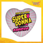 """Mouse Pad a Cuore Per Innamorati """"Super Donna con Nome"""" tappetino pc ufficio idea regalo San Valentino gadget eventi"""