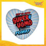 """Mouse Pad a Cuore Per Innamorati """"Super Uomo con Nome"""" tappetino pc ufficio idea regalo San Valentino gadget eventi"""