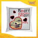 """Cuscino Donna Love Quadrati Divano Letto Poltrona """"Anniversario con Data e Nome"""" Idea Regalo San Valentino per Coppie di Innamorati Gadget Eventi"""
