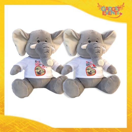 """Coppia di Peluche Love Pupazzi a forma di elefante """"Anniversario con Data e Nomi"""" Pupazzetti di San Valentino Idea Regalo per Innamorati Gadget Eventi"""