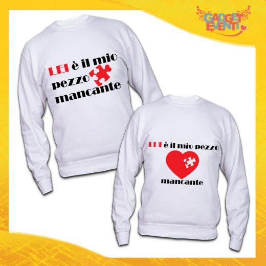 """Coppia di Felpe Bianche Love """"Pezzo Mancante"""" San Valentino Gadget Eventi"""