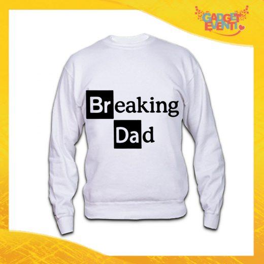 "Felpa Bianca ""Breaking Dad"" Idea Regalo Originale Festa del Papà Gadget Eventi"