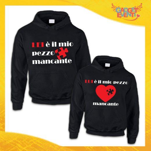"""Coppia di Felpe Nere Love """"Pezzo Mancante"""" San Valentino Gadget Eventi"""