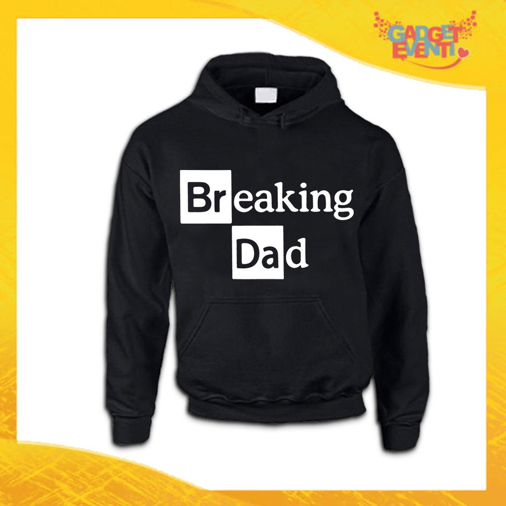 """Felpa Nera """"Breaking Dad"""" Idea Regalo Originale Festa del Papà Gadget Eventi"""