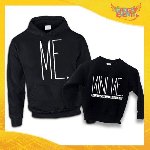 """Felpe Padre Figlio Nere """"Mini Me"""" Magliette Idea Regalo Originale Festa del Papà Gadget Eventi"""