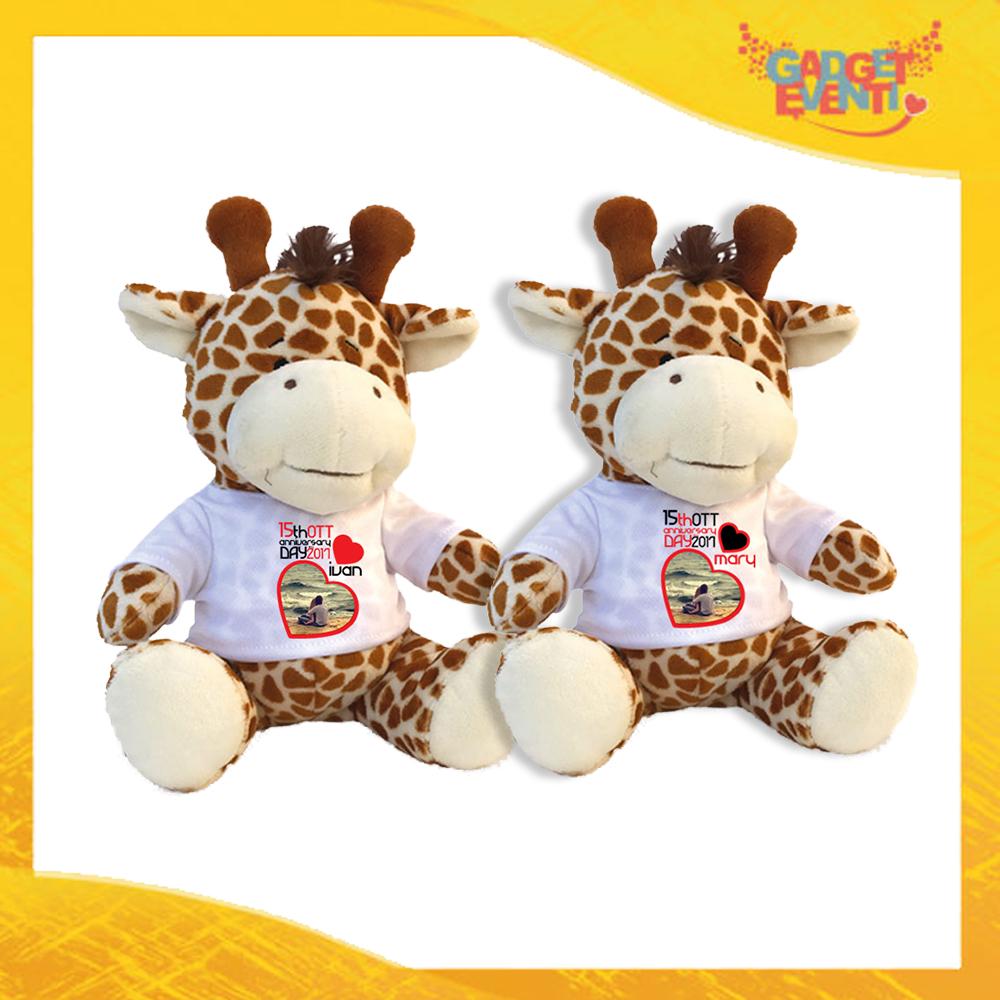 """Coppia di Peluche Love Pupazzi a forma di Giraffa """"Anniversario con Data e Nomi"""" Pupazzetti di San Valentino Idea Regalo per Innamorati Gadget Eventi"""
