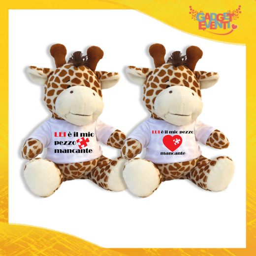 """Coppia di Peluche Love Pupazzi a forma di Giraffa """"Pezzo Mancante"""" Pupazzetti di San Valentino Idea Regalo per Innamorati Gadget Eventi"""