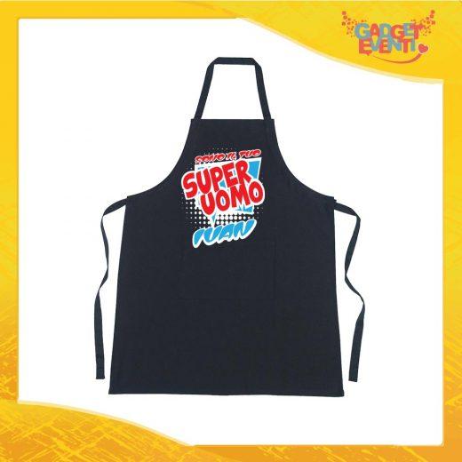 """Grembiuli Nero da Cucina Love """"Super Uomo con Nome"""" Ristorazione Idea Regalo Innamorati per settore alimentare Gadget Eventi"""